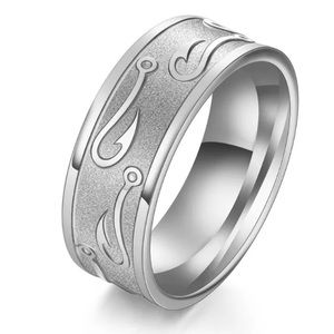 Silver fish hook ring